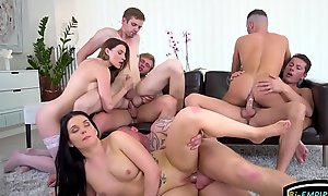 Fellows fucking hunks and babes in bisexual orgy