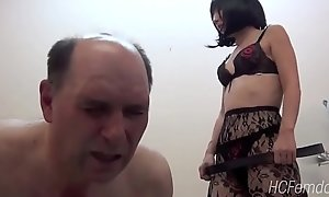 Japanese feathers whips her usherette as A he learns Japanese