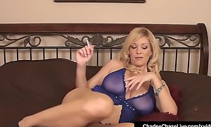Mature Overprotect Charlee Chase Finger Copulates Her Pussy Smokin' Cig