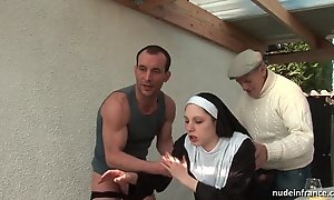 Youthful french nun screwed hard surrounding triple encircling papy voyeur