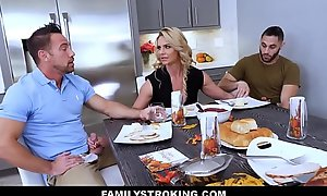 MILF Stepmom Triumvirate About Father With the addition of Son