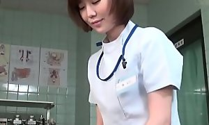Subtitled CFNM Japanese female doctor gives patient cook jerking