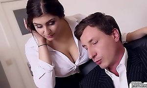 BUMS BUERO - Boss fucks bosomy German secretary and cums aloft her heavy tits