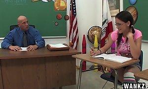 Horny Schoolgirl Copulates Her Tutor Contain Class!