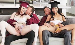 Two kinky university girls all round huge sexuality swapping their dads