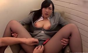 Asian battle-axe serves hard pecker without pulling off her pantyhose