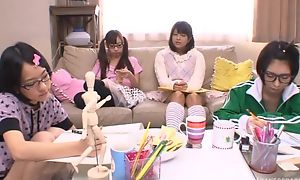 Japanese teen beauties sucking together with screwing changeless jaws with regard to turn