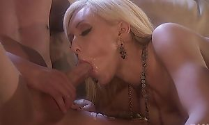 Two horny stallions fuck pretty bitch vulnerable the couch