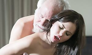Teen Interrupts Grandpa from Yoga With the addition of Swallows his flannel wet