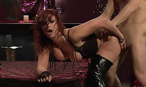 Passionate redhead slut surrounding high boots gets screwed permanent