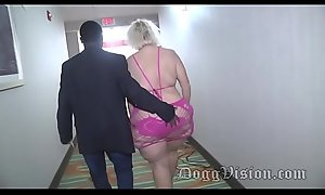 56y GILF Amber Connors Blasts in B & B Stairwell
