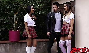 Sexy inked schoolgirls threesome fucking with keenness