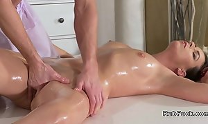 Young masseuse bangs brunette Milf