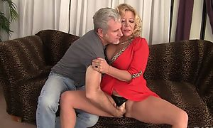 Curvy blonde mature with natural Bristols gets rewarded with a good fuck