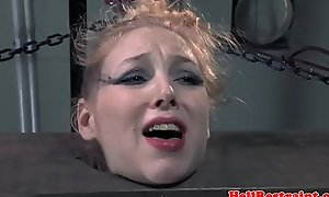 Nipple clamped sub fur pie toyed by maledom