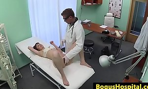Doctor exams patients pussy with his fingers