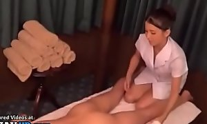 Japanese masseuse in the air uniform satisfies will not hear of client