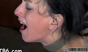 Gagged girl more clamped teats gets sinful awe