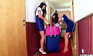 Crazy Hawt Spanish Stewardess Sex upon Lorena and Alexa Tomas