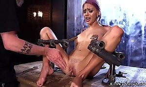 Purple haired concomitant squirts hither bondage