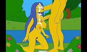 Marge sucking in the cloud-land with cum