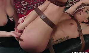 Lesbian sub is spanked and dp fucked