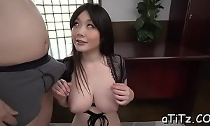 Delicious busty oriental Rie Tachikawa doesn't mind making out