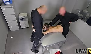 LAW4k. Babe gives ass and love tunnel for fucking to several guards for freedom