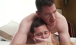 BoyForSale - Dom daddy fucks slave twink bareback after anal play