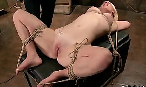 Blonde slave in strict rope thraldom