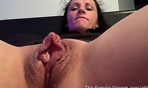 Horny Assembly Go lame Rubs Giant Clit And Wet Pussy To Contracting Orgasm