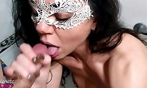 Cooky Passionate Engulfing in the Bathroom - Facial Cumshot