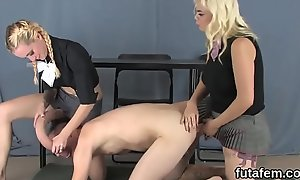 Sweeties burgeon dudes anal with enormous strap-ons with an increment of rain cream