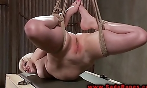 Hogtied bdsm suspended and whipped from her master