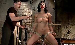 Busty slave is dp banged on hogtie