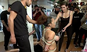 Tied tits well-endowed infant fucked in public