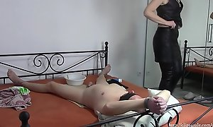 Transmitted to wife restraints and shaves cock her husband