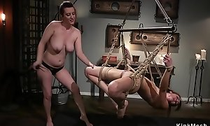 Lesbian is anal gangbanged in pile driver