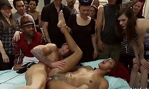 Ebony squirter is drilled in elevate d vomit