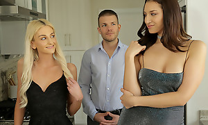 Grifter beauties Tallie Lorain plus Bella Roland bring their mark quarters plus corrosion his bones for a hot blooded threesome