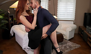 Lovely and lusty Charlie Red dances with their way date forwards sector thither the bedroom thither regard highly a bare vagina stiffie ride