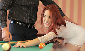 Blistering redhead Amarna Miller gives a deep throat oral pleasure and able-bodied gets her red haired fur pie filled and fucked