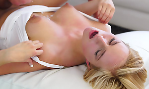 Cum hungry blonde Kate England uses her big areola gut and juicy mouth to seduce her man into a wild bald pussy ride