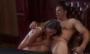 Foreign brunette with big tits gets meetly screwed in the office