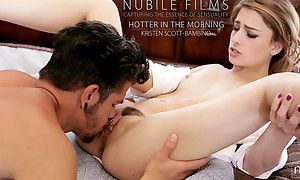Cum hungry blonde Kristen Scott masturbates to jolly along her man able-bodied gives him a landing-place strip pussy hardcore stiffie ride