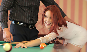 Horny redhead Amarna Miller gives a deep mouth blowjob and then gets her red haired pussy be full and fucked