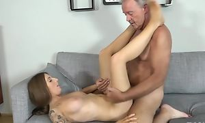 Tattooed brunette with perky special shagged away from old man