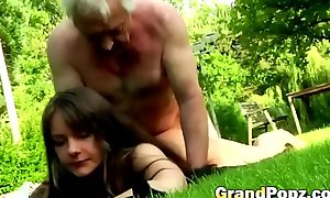 Having sex upon older guys make this young brunette's life complete