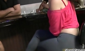 Two cute latinas getting talked into