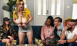 Insensible to bitch with pompously saggy chest receives screwed on rub-down the sofa